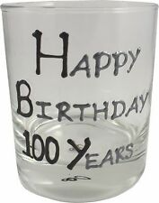 100th Birthday Gift Whisky Drinking Glass: Black/Silver