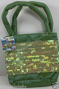 """GREEN SEQUIN 5"""" X 6"""" GIFT BAG SEWN FOAM LINED STRAPS EASTER BAGS"""