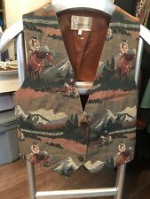Ladies Western Tapestry Vest Conterio Large Horse Theme