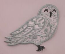 Embroidered Boho Bohemian Swirl Snowy Owl Bird Applique Patch Iron On Sew On USA