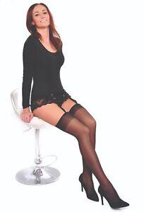 Over the Knee Belt Suspender Stockings Sheer 15 Den Cher Gabriella XS-XXL