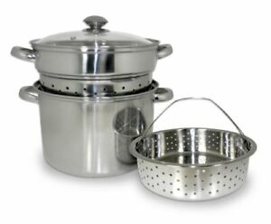 Brand New ExcelSteel 8 Qt 4 Piece Stainless Steel Pasta Multi-Cooker Stockpot