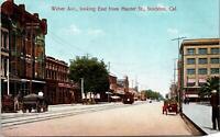 Stockton CA Weber Ave lkng East from Hunter St Postcard unused 1900s/10s