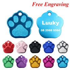 2PC Personalized Dog ID Tags Engraved Dogs Name Tag Paw Pet Collar Accessories