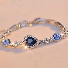 Women's 18k Real White Gold Filled Blue Diamond Heart Shape Bracelet ..