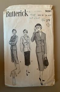 """1950s 1951 Vintage Butterick suit Sewing Pattern. Bust 34"""" incomplete"""