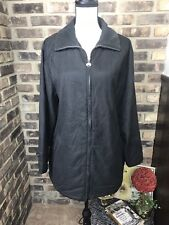 London Fog Jacket Men's Size MEDIUM Black Nylon Front Zip Fall / Winter EUC!!