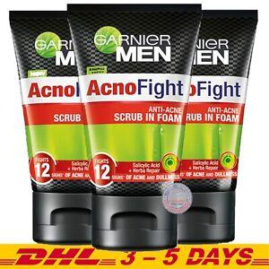 Pack 3: Garnier Men Acno Fight Anti-Acne Scrub in Foam 100ml