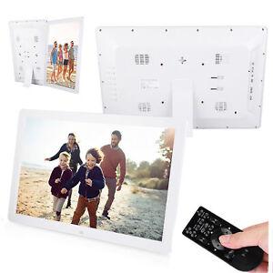 17 Zoll 1440x900 HD Digitalfoto Bilderrahmen Wecker Player Album Weiß 100-240V