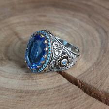 925 Sterling Silver Mens Ring Blue Topaz Gemstone Handmade Unique Men's Ring