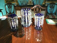 More details for pair of bohemian blue lustres and similar  bluevase with lustres