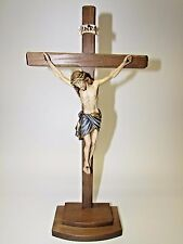 "14"" Wooden Crucifix on Stand - Hand Carved and Painted - All Wood Construction"