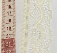 40 Mm Vintage Floral Lace Trim Cream Ivory - Polyester Scalloped P 2 Mtrs