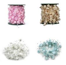 Rose Flower Pearls Chain Pear Bead Garland Chandelier Hanging Wedding Supplies