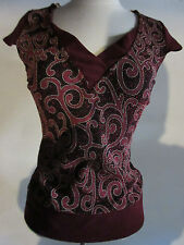 Top Large Burgundy Gold Metallic Paisley with Rhinestone Necklace NWT G35