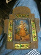VINTAGE HAND CRAFTED TIN NICHO WITH PRINT OF OUR LADY DEL CARMEN GLASSFRONT