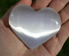 Large 60mm WHITE SELENITE CRYSTAL PUFF  A-GRADE HEART LOVE CARING