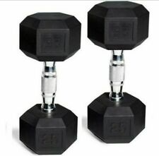 🔥🔥 25 LB DUMBBELLS PAIR OF 2 RUBBER COATED ✅ IN HAND!! BRAND NEW WORKOUT HEX