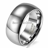 8MM Tungsten Wedding Ring Men Women Plain Dome Polished Comfort Fit Size 5-14