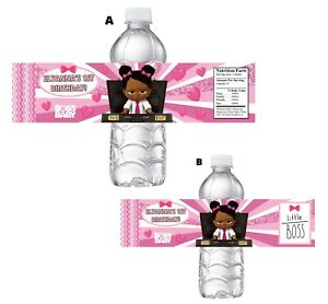 10 BLACK BOSS BABY PINK GIRL BIRTHDAY PARTY FAVORS WATER BOTTLE LABELS SUPPLIES