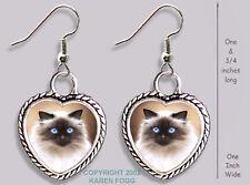 Himalayan Longhair Cat - Heart Earrings Ornate Tibetan Silver