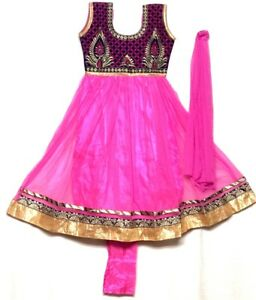 "30"" Anarkali Salwar Kameez for girls age 9 to 10 years Chudithar Bollywood Party"