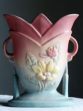 """HULL ART Magnolia Handle Vase 1940s Vintage 8 3/4"""" T"""