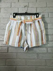 NWT American Eagle High Waist Mom Shorts Striped Paper Bag Tie Waist Size 4 / 26