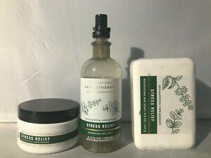 3 PCS Bath & Body Works Stress Relief Bar soap Pillow mist Cracked heeltreatment