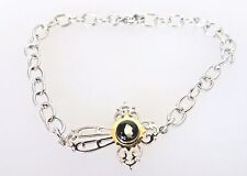 Michael Anthony Two Tone Stainless Steel Nativity Cross Bracelet with Stone 7.5""