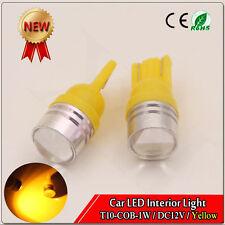 4pcs Yellow Amber T10 Wedge COB 1W LED Light Bulbs W5W 192 168 194 DC 12V 3000K