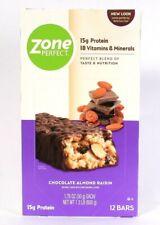 1 Box Zone Perfect 1.3 Lb Chocolate Almond Raisin 15g Protein 12 Count Bars