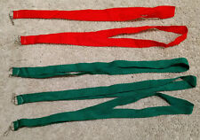 """Lot (5) Green/Red Lanyard/ID/Badge Holders/Tags-Neck/Keys Clip/Hook-0.75"""" Fabric"""