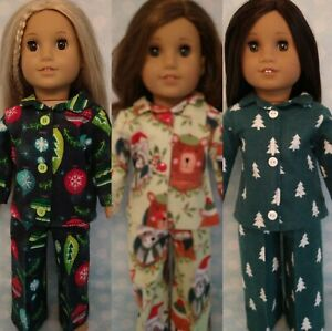 """18"""" Doll Christmas Pajamas fits 18 inch American Girl Doll Clothes c412abc"""