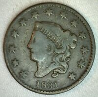 1831 Coronet Head US Large Cent Copper Coin VG Very Good Grade 1c US Penny Coin