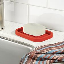 NEW Soap Dish Kitchen BathRoom Silicone Rack Holder Surface Tray Mat Safe Red