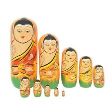 Wooden Buddha Face Toys Set Of 10 Pcs Handcrafted Nesting Dolls