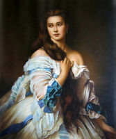 Dream-art Oil painting female portrait young beauty queen in dress canvas 36""