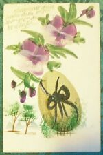GOLDEN EGG-PANSY-MINI TREE-VINTAGE ANTIQUE HANDMADE HAND PAINTED EASTER POSTCARD