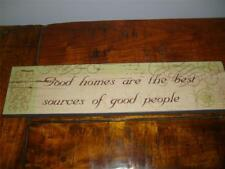 """WALL ART """"GOOD HOMES"""",PICTURE,WOODEN PLAQUE,SHABBY CHIC,DISTRESSED SIGN VINTAGE"""
