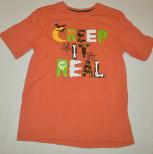 Boy's Halloween Orange Creep It Real Short Sleeve T-Shirt Sizes M, L, XL, 2XL