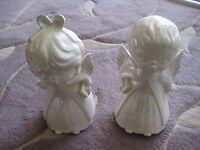"Set Of 2 Vintage Lenora Boy & Girl Angel Figurines, 8"" Tall X 4"" Widest"