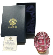 Vtg Faberge Imperial Crystal Cut Cranberry Pink Egg 24 K Gold Plated Russia