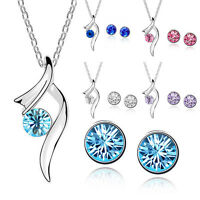 Women's Ladies Crystal Jewelry Set Necklace Choker + Studs Earrings Love Beauty