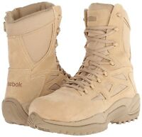 "Reebok 8"" Rapid Response RB Combat Boot SZ 8.5 Side Zipper RB8895 Desert Tan"