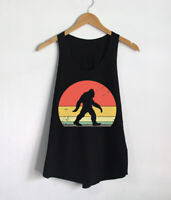 Retro Bigfoot Shirts Camping Hiking Women Tank Top Gift Vintage Design Tees
