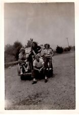 1950's B&W Vintage Photo - Group of Friends sitting on Old Car