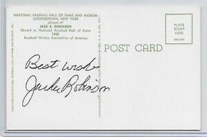 Jackie Robinson Autograph GHOF Post Card Full JSA LOA w Autograph Grade 9
