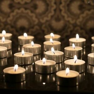 25/50/100/150 Pack Of Unscented Tealights White Candles 3.5/4/8 Hour Burn Time