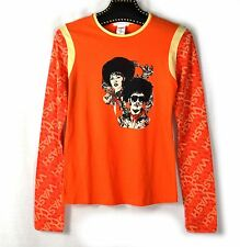 CUSTO BARCELONA - T-SHIRT TOP MANCHES LONGUES ORANGE FUNK MUSIC  - TAILLE 3 / 38